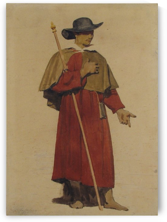 An Italian Pilgrim by Dominique Louis Ferreol Papety