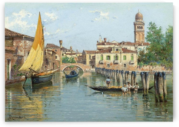 Gondolas on a canal in Venice by Antonietta Brandeis