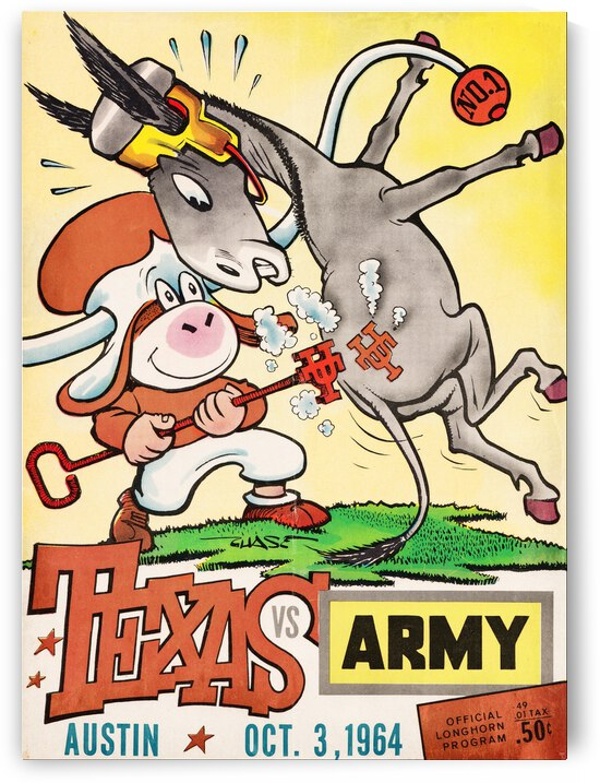 1964 Army vs. Texas Longhorns Football Program Art by Row One Brand