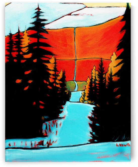 Pink Mountain Snow Trail by Art by Alison Newth