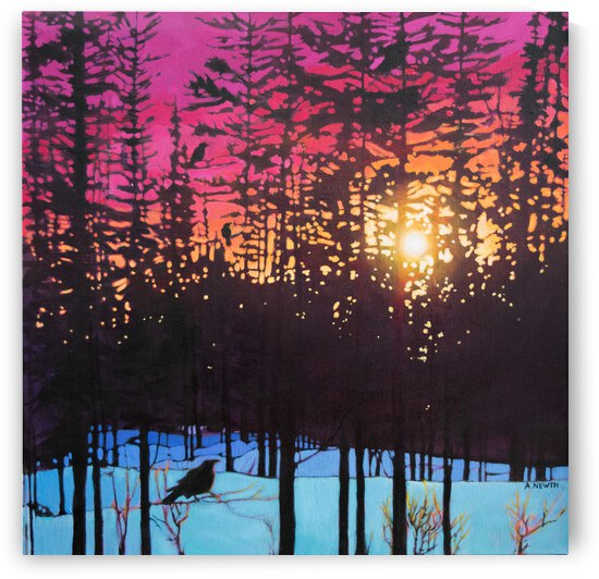 Crows at Sunset by Art by Alison Newth
