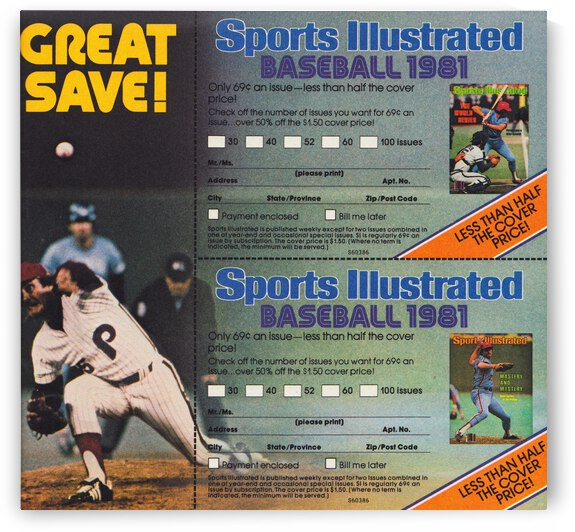 1981 Sports Illustrated Baseball Ad Poster by Row One Brand