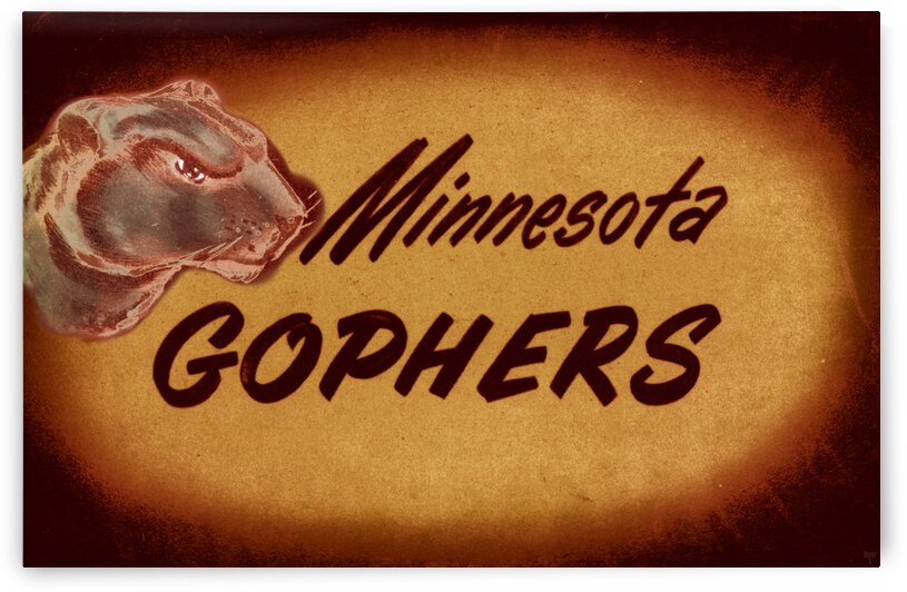 1950 Vintage Minnesota Golden Gopher Art by Row One Brand