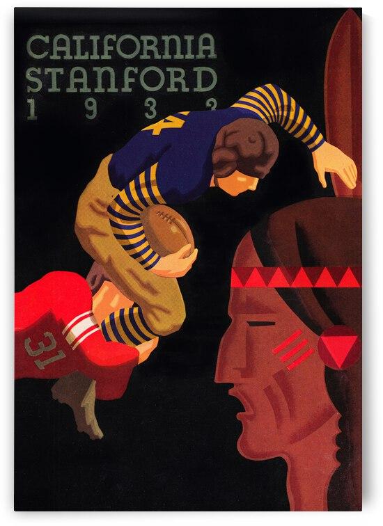 1933 Stanford vs. California Football Program Brushed Metal Art by Row One Brand