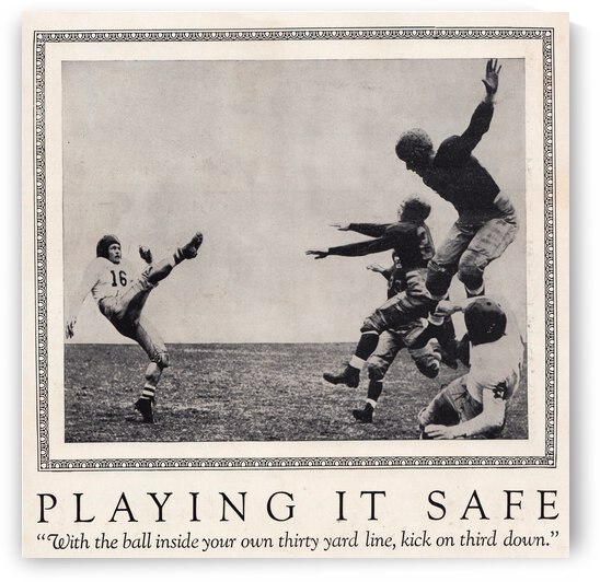1938 Football Play it Safe Kick on Third Down by Row One Brand