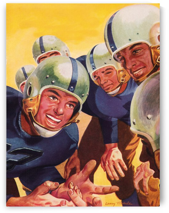 1947 Vintage Football Art Inside the Huddle by Row One Brand