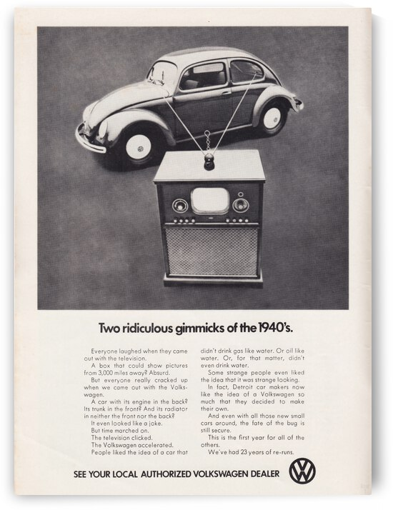 1971 Vintage Volkswagen Car Ad Poster by Row One Brand