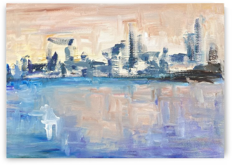 Choppy cityscape with blue and purple by Jazmine Gabriel