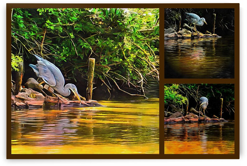 Grey Heron Collage by Dorothy Berry-Lound