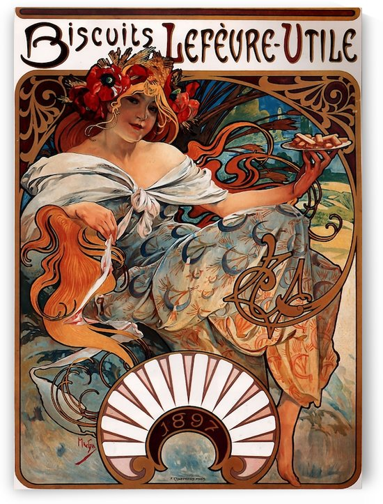 Buscuits, Lefevre-Utile by Alphonse Mucha by VINTAGE POSTER