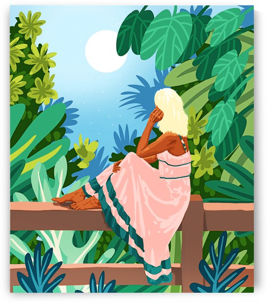 Forest Moon  Bohemian Woman Jungle Nature Tropical Colorful Travel Fashion Illustration by 83 Oranges