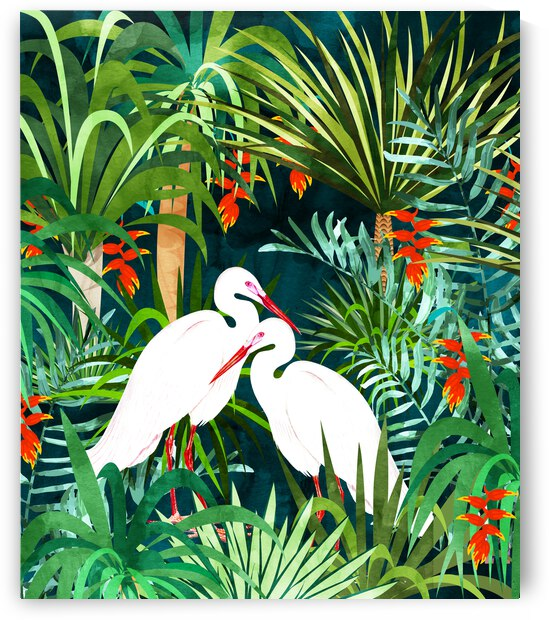 To Me  You re Perfect  Tropical Jungle Heron Watercolor Vibrant Painting  Stork Birds Wildlife Love by 83 Oranges