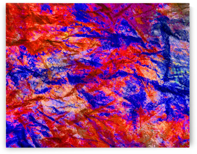 Abstract in Blue and Red by Leslie K Joseph