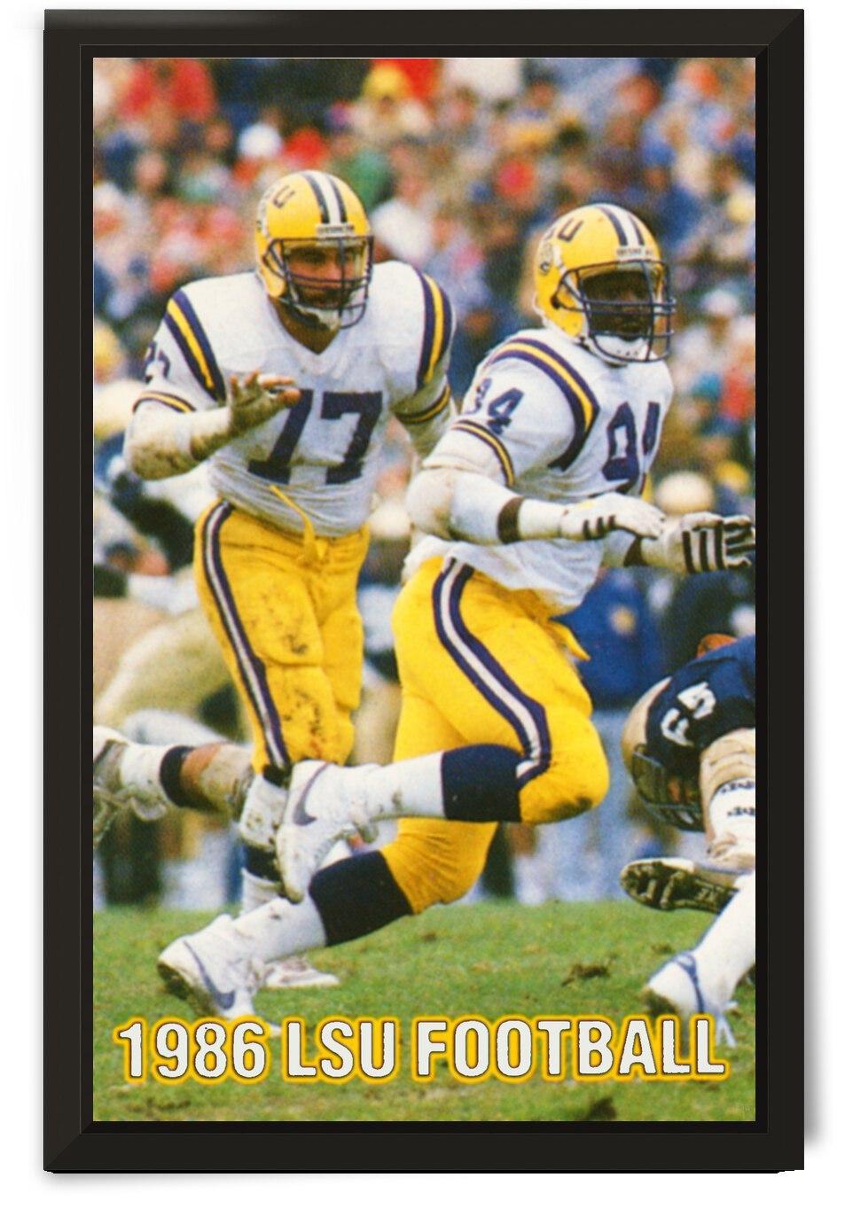 1986 LSU Retro Football Poster  by Row One Brand