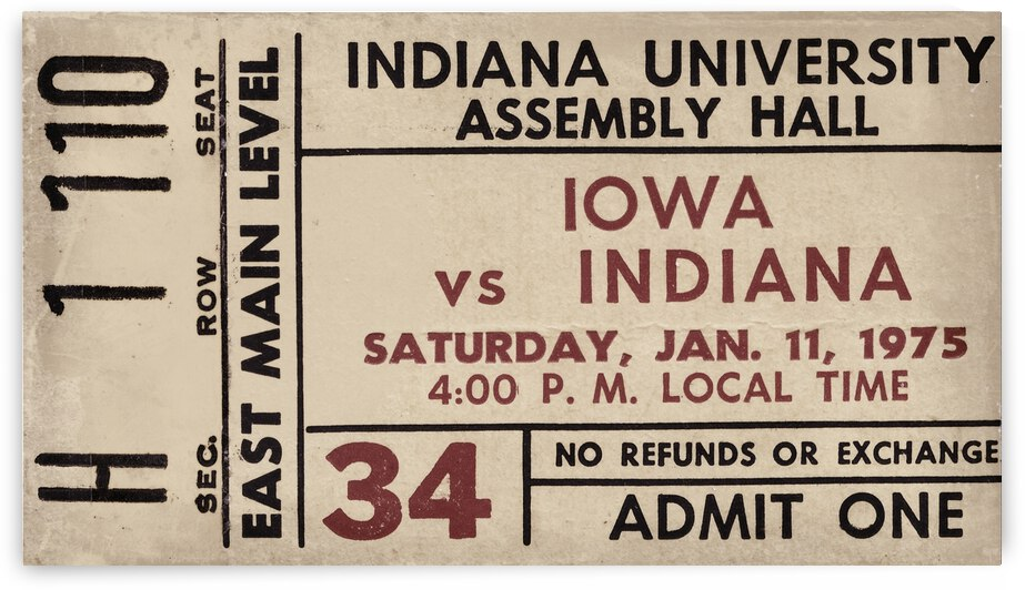 1975 Indiana vs. Iowa Basketball Ticket Metal Sign by Row One Brand