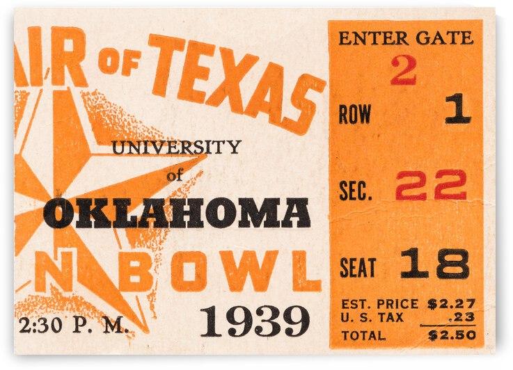 1939 Texas Longhorns vs. Oklahoma Sooners by Row One Brand