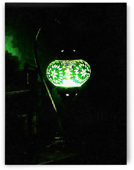 Green Oriental Mosaic Lamp by Dorothy Berry-Lound