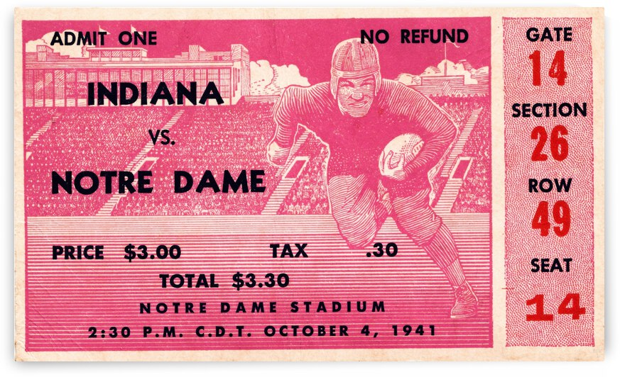 1941 Indiana vs. Notre Dame Football Ticket Canvas by Row One Brand