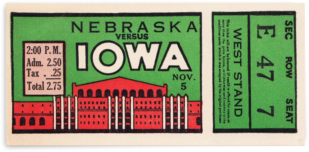 1932 Iowa Hawkeyes vs. Nebraska Cornhuskers by Row One Brand