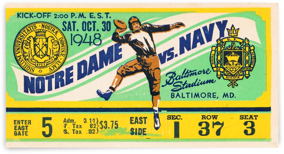1948 Navy vs. Notre Dame Football Ticket Art by Row One Brand