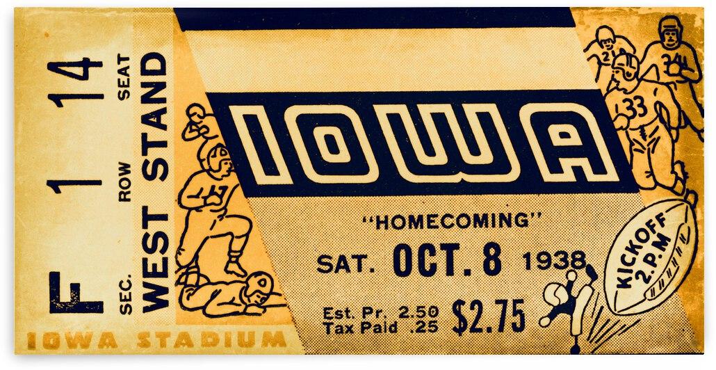 1938 Iowa Hawkeyes Football Ticket Remix Art by Row One Brand