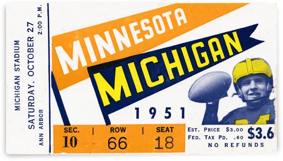 1951 Michigan vs. Minnesota Football Ticket Art by Row One Brand