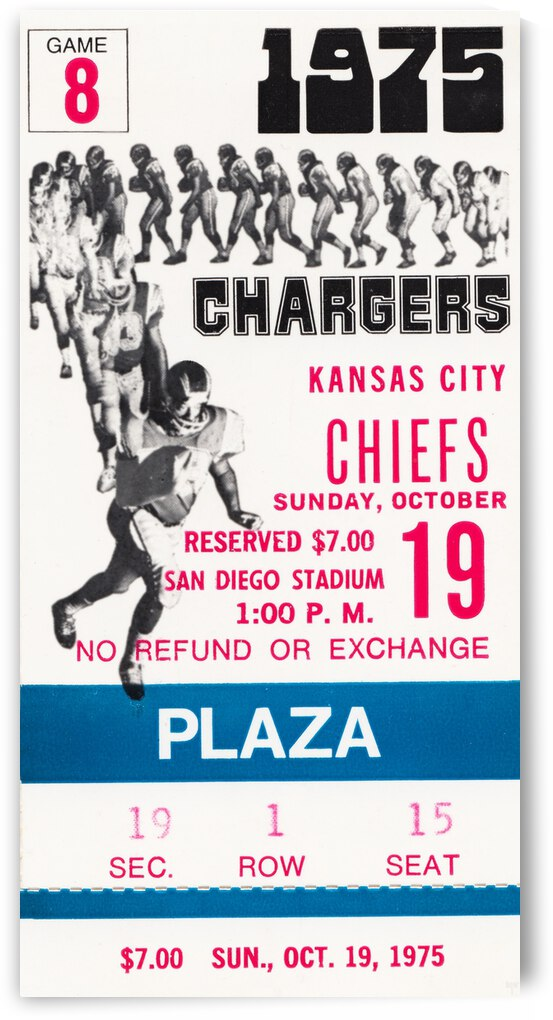 1975 San Diego Chargers Ticket Canvas by Row One Brand
