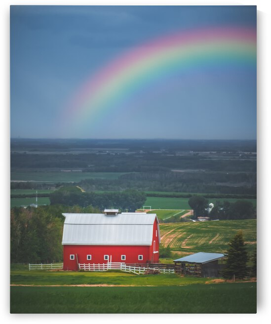 Rainbow Over A Red Barn  by Bone Photo
