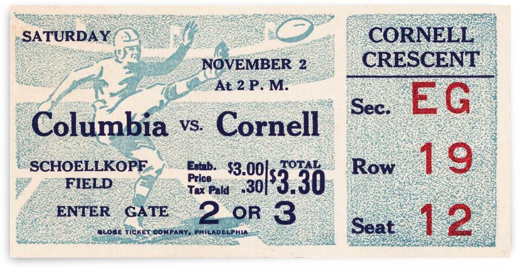 1935 Columbia vs. Cornell Football Ticket Art by Row One Brand