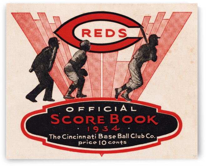 1934 Cincinnati Reds Score Book Metal Sign by Row One Brand