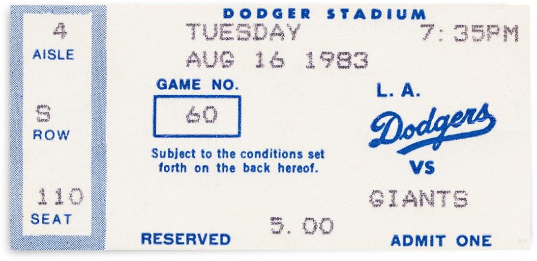 1983 LA Dodgers vs. Giants Ticket Stub Metal Sign by Row One Brand