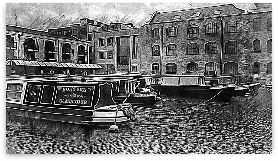 Moored Canal Boats Kings Cross London Black And White by Dorothy Berry-Lound
