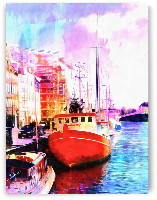 Red Boat At The Dock Side in Copenhagen by Dorothy Berry-Lound