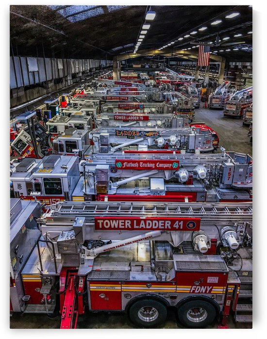 Fire Apparatus Line up Color by Patricia Gontz