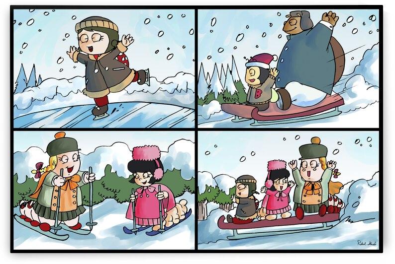 Winter Wonderland Fun   Ice Skating  Sledding and Tobogganing   4 panel Favorites for Kids Room and Nursery   Bugville Critters by Robert Stanek