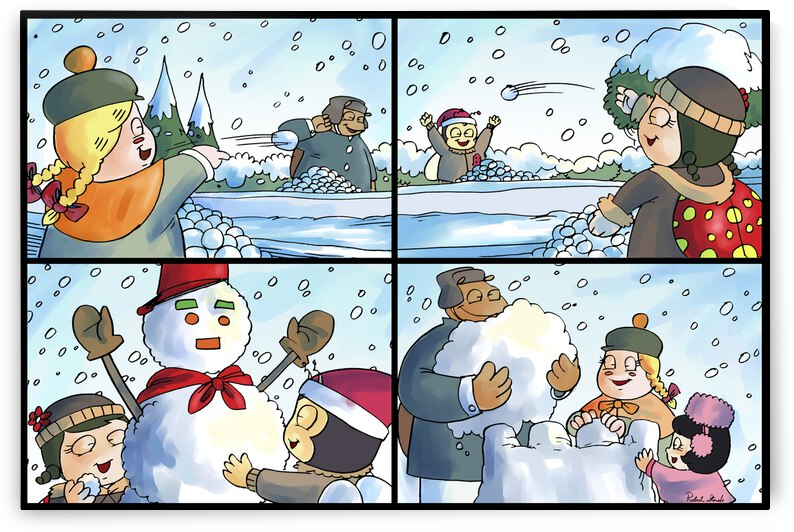 Winter Wonderland Fun   Snowballs  Snowforts and Snowman   4 panel Favorites for Kids Room and Nursery   Bugville Critters by Robert Stanek