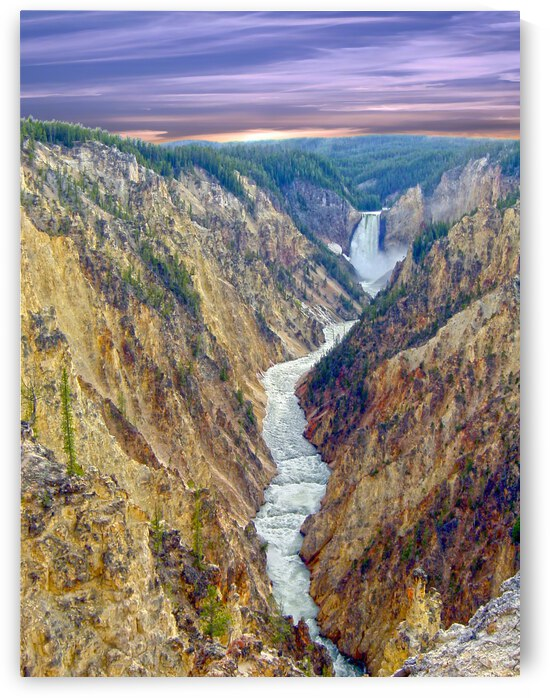 Grand Canyon of Yellowstone - The Falls and River in the Fading Light of Day  Yellowstone National Park at Sunset by 1North