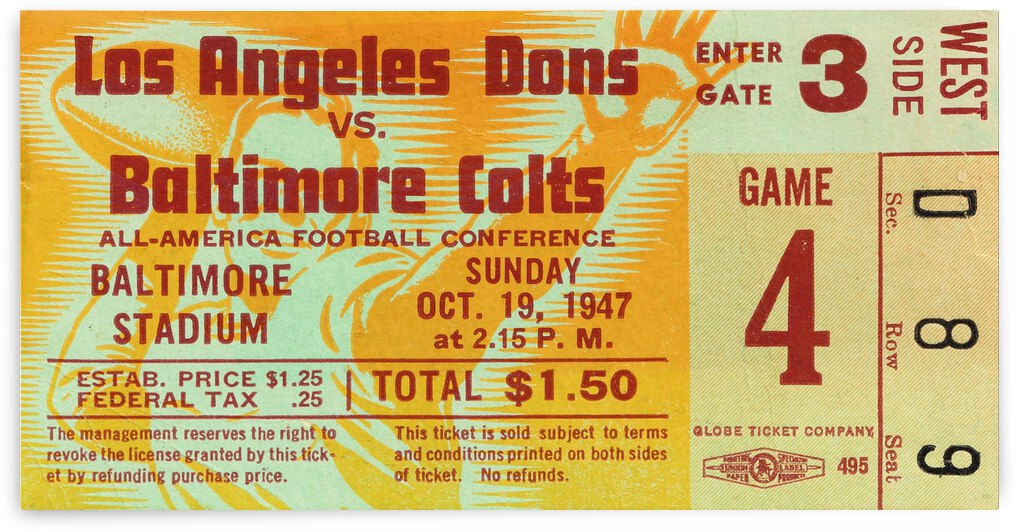 1947 Baltimore Colts vs. LA Dons Ticket Stub Art by Row One Brand