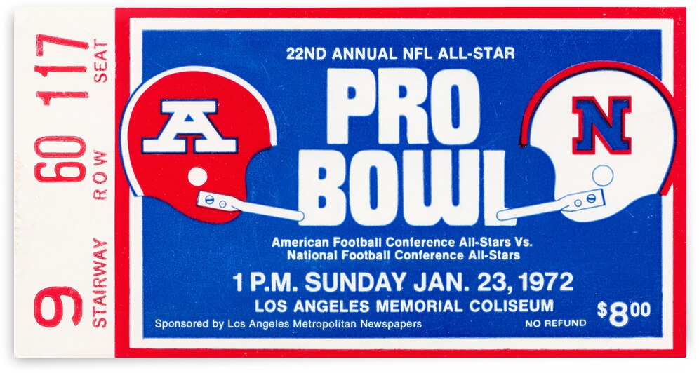 1972 Pro Bowl Ticket Canvas by Row One Brand