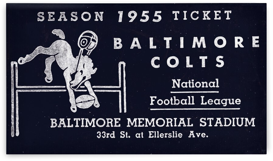 1955 Baltimore Colts Season Ticket Remix by Row One Brand