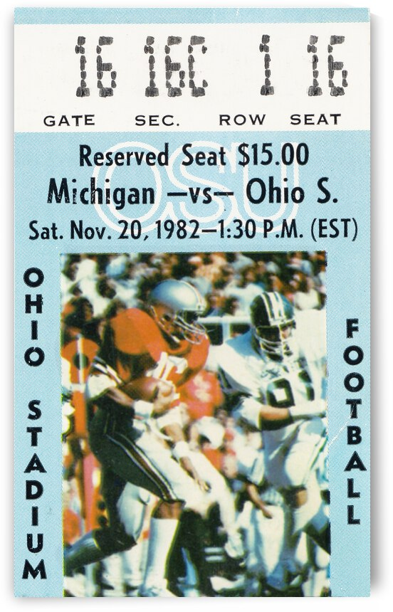 1982 Ohio State vs. Michigan Football Ticket Canvas by Row One Brand
