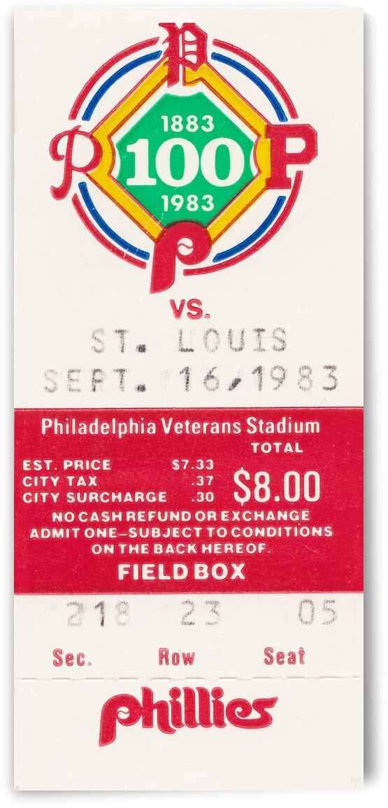 1983 Philadelphia Phillies vs. Cardinals by Row One Brand