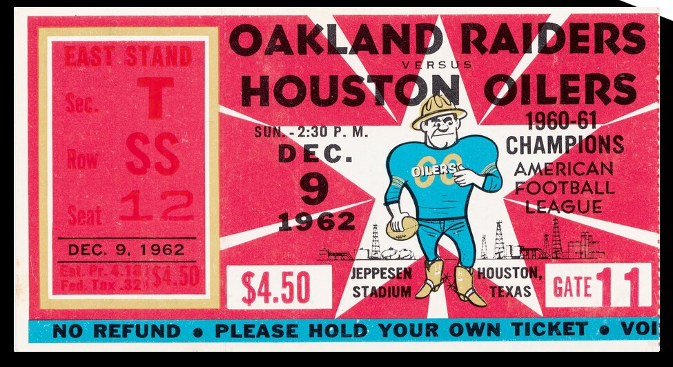 1962 Oakland Raiders vs. Houston Oilers by Row One Brand