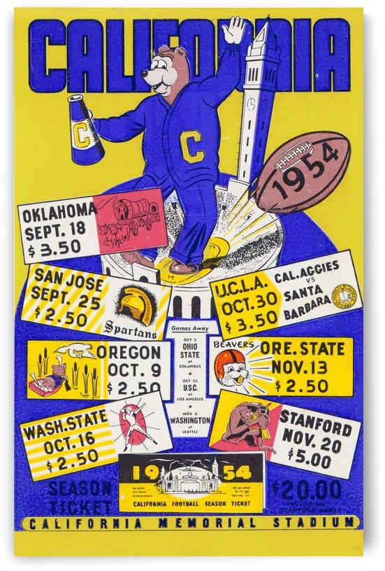 1954 California Bears Football Art by Row One Brand