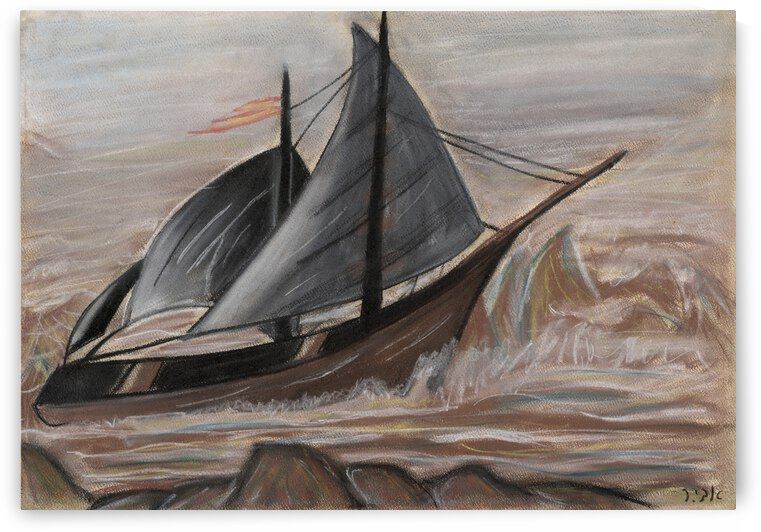 RA 003 - ספינה בלב ים - A ship in the middle of the sea by Avi Romano Art