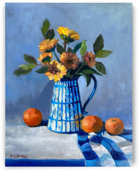 Dasies and Oranges with Blue Pitcher by Norman Crenshaw