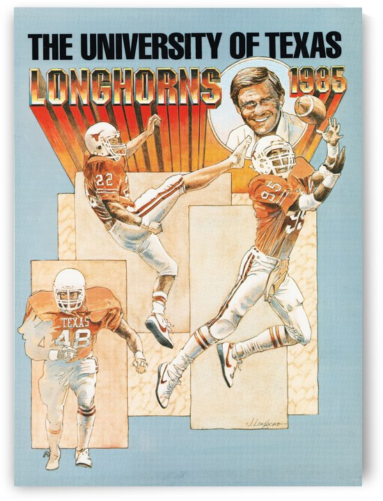 1985 Texas Longhorns Retro Football Art by Row One Brand