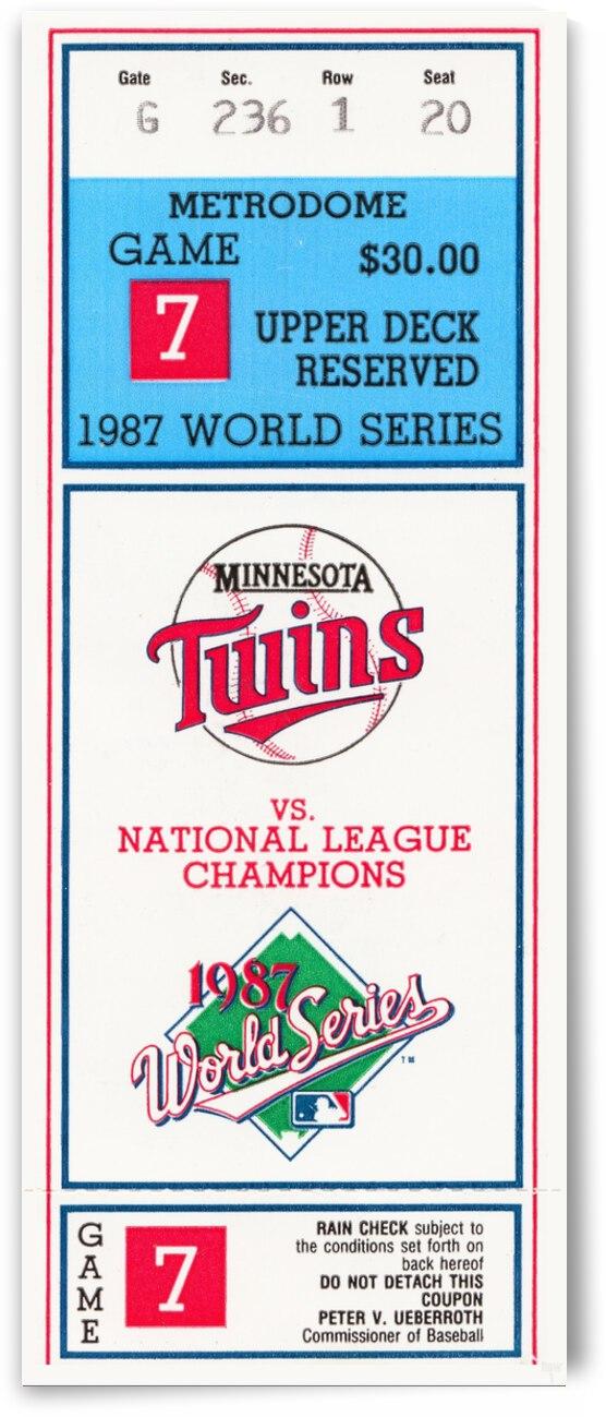 1987 World Series Game 7 Minnesota Twins Ticket  by Row One Brand
