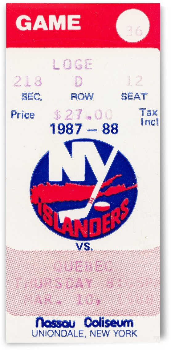 1988 New York Islanders Hockey Ticket Canvas by Row One Brand