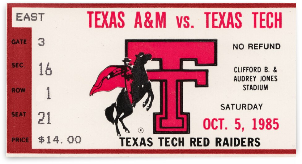 1985 Texas Tech vs. Texas AM by Row One Brand